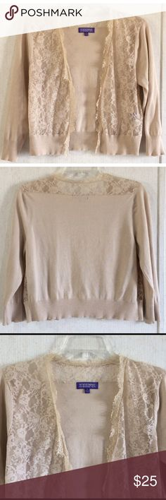 Vivienne Tam Floral Lace Cardigan Good condition. Few tiny snags on the knit part. Super cute Vivienne Tam cardigan. Floral lace open front with fringed edges. Solid silk blend knit material on the back, hem, and sleeves. Light tan/beige color. Size medium. All offers welcome Vivienne Tam Sweaters Cardigans