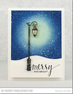 Stamps: Hand Lettered Holiday, BB Santa's Elves Die-namics: Streetlights, Stitched Snow Drifts Barbara Anders #mftstamps