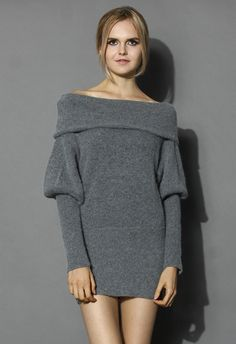 Softhearted Mohair Knitted Dress in Grey - Retro, Indie and Unique Fashion