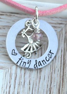 Tiny Dancer silver washer necklace on leather cord with tutu ballet charm pink crystal Unique Gifts For Sister, Sister Gifts, Gifts For Her, Personalised Gifts Unique, Sister Bracelet, Thing 1, Tiny Dancer, Team Gifts, Perfect Gift For Her