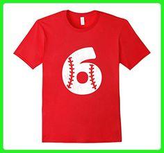 Mens 6 Years Old Birthday Baseball Boys and Girls Shirt 2XL Red - Birthday shirts (*Amazon Partner-Link)