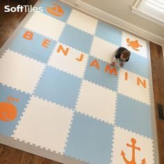 Making your child's name the focal point of their playroom floor is decorative, fun, and educational! Use SoftTiles Alphabet Mats to spell your child's name! Playroom Flooring, Foam Flooring, Playroom Design, Playroom Ideas, Playroom Decor, Childrens Play Mat, Nursery Inspiration, Kid Names, Kids Playing