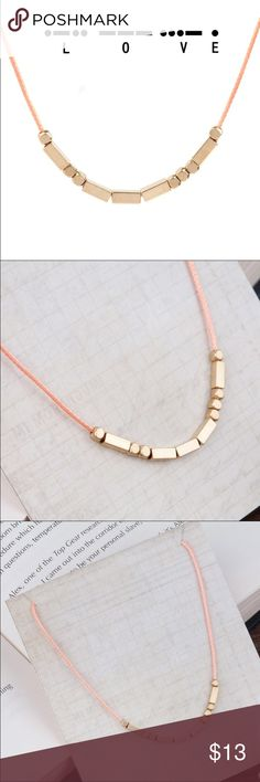 "Morse Code ""Love"" Necklace Morse code ""Love"" necklace features a peach coated cord and copper colored beads. Piece is approx 18 inches long with a 2 inch extender!   All Pineapple.PalmBeach jewelry and hair pins come packaged on crisp white packaging and tucked carefully into white chiffon pouches ready for you or a friend to enjoy!   Don't forget to shop my closet for a bundle discount! Pineapple.PalmBeach Jewelry Necklaces"