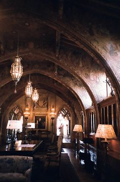Hearst Castle - home office (gothic study). Click through for more pictures from the Hearst Castle. Gothic Architecture, Interior Architecture, Interior And Exterior, Gothic Interior, Palace Interior, Hogwarts, Slytherin, Gothic House, Victorian Gothic