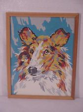 Vintage Paint By Number Collie Dog
