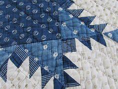 FARMHOUSE PRIM Civil War Era Antique Indigo Blue & White Feathered Star QUILT