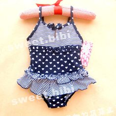 Free shipping 2014 new Children swimwear  baby girl kids one-piece swimsuit blue lovely cute beach swimsuit  babies 6 -20 months $14.99