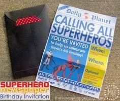 Genius Idea- Superhero Newspaper Birthday Invitation from the Daily Planet