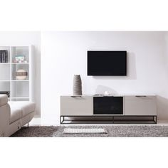 B-Modern Animator High-Gloss Cream/ Black Modern IR TV Stand | Overstock.com Shopping - The Best Deals on Entertainment Centers