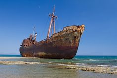 A rusty shipwreck in gytheion, greece Greece Vacation, Greece Travel, Ship Breaking, Rust Never Sleeps, Desert Places, Oil Tanker, Abandoned Ships, Ghost Ship, Old Boats