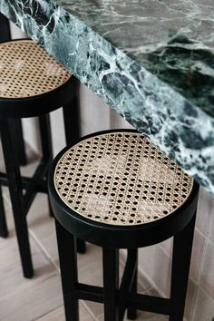 Marble Countertops Look Ravishing In Shades of Blue These blue marble countertops make a case for living with colorful stone. Marble Countertops, Kitchen Countertops, Rattan Furniture, Furniture Design, Modern Furniture, Rattan Stool, Futuristic Furniture, Plywood Furniture, Chair Design