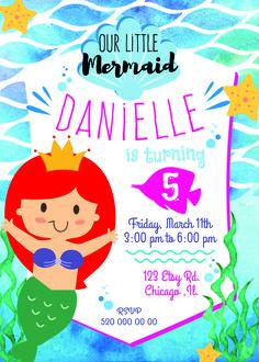 mermaid birthday invitation, mermaid party, mermaid invitation, little mermaid party, little mermaid invitation, watercolor mermaid invitation, under the sea party