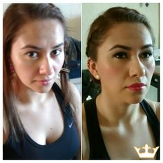 Airbrush Makeup artist in Playa del Carmen. Before & After for a lovely bridesmaid