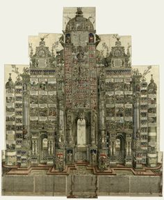 Albrecht Dürer. The Triumphal Arch of Emperor Maximilian I, 3rd edition, 1559. Coloured woodcut, laid down, rolled up. Albertina, Vienna