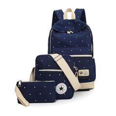 2016 Spring Girls' Backpack School Bags For Teenagers Girls Rucksack Travel Backpacks Set Mochila Dot Bookbag Fresh Canvas 2001
