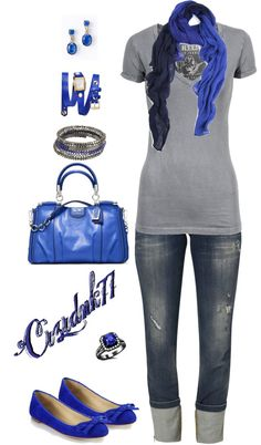 """""""Grey and Royal Blue"""" by crzrdnk77 on Polyvore"""