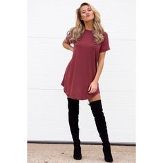 Tshirt dress with thigh highs- love