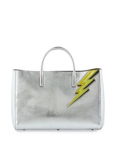 Ebury Maxi Featherweight Lightning Bolt Tote Bag, Silver  by Anya Hindmarch at Neiman Marcus.