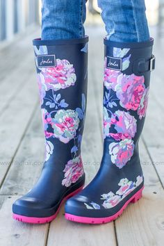 Pre-Order Joules Floral Rain Boots in Navy