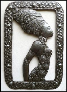 Handcrafted African Woman Metal Art Wall Hanging - Hand cut Haitian Recycled Steel Drum Metal Art Design - Very detailed metal piece. Art of Haiti. Handcrafted metal wall hanging. A unique form of Hai