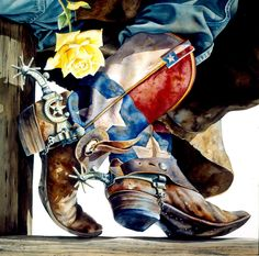 Cowboy and Fly Fishing Watercolor Prints for Sale - Nelson Boren Cowboy Art, Cowboy And Cowgirl, Cowboy Boots, Western Boots, Cow Girl, Westerns, Line Dance, Into The West, Loving Texas
