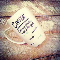 Coffee because crack is bad for you, coffee mug, handmade, cup, coffeecup by XoMomma on Etsy