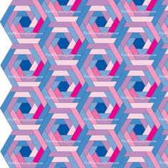 Patterned hexagonal blocks as whole-quilt mockups. 4 different designs shown with this block.