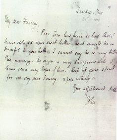 A note from john keats to his dearest love fanny brawne the letter to sister fanny keats written by john keats spiritdancerdesigns Choice Image
