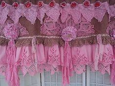 Handmade Pink Valance Burlap Vintage Lace Hippie Boho Shabby Chic tmyers