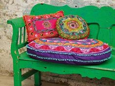 Green India Inspired Bench and Cushions