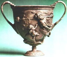 Silver two-handled cup recovered from the ash, Pompeii.