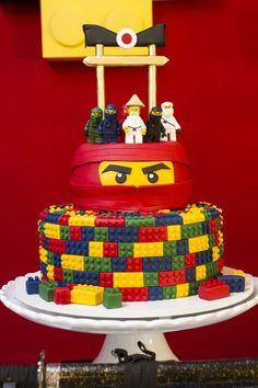 Fiesta infantil The Lego Ninjago Bolo Ninjago, Lego Ninjago Cake, Ninjago Party, Lego Cake, Ninja Birthday Parties, Ninja Turtle Birthday, 5th Birthday, Festa Ninja Go, Ninja Cake