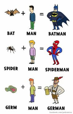 Bat + Man = Batman. Spider + Man = Spiderman. Germ + Man = German. #comics #caricature #cartoon #fun #funny #humor #funnytext #superheroes