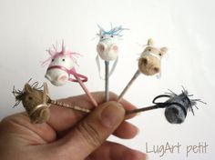 Pink Needle felted STICK HORSE for dollhouse. by LugartPetit