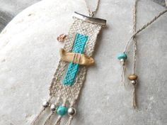 Hand Woven Necklace by the sea Tapestry Miniature by manufabrica