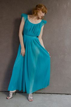 Vintage 60's Teal Nightgown GRECIAN GODDESS by moonchildvintage, $20.00