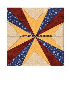 Diamonds and Stars Paper Pieced Quilt Block Pattern by purpleblock, $2.99