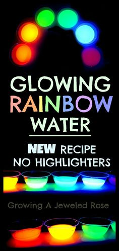 Make glowing water WITHOUT highlighters! This new recipe from Growing A Jeweled Rose is a great alternative for parents!   Made from 100% kid safe materials with a RAINBOW of waters to add to your play!