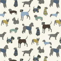 Blue Doggy Days Fabric by the Yard | Carousel Designs