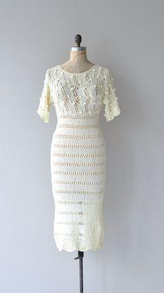 Chrysalis dress cream knit dress vintage 1970s by DearGolden