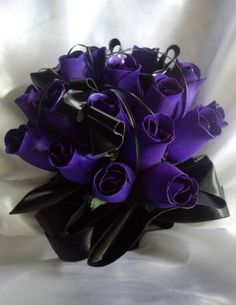 Gothic Cybergoth Wooden Rose With PVC Bride Wedding Bouquet Red, Purple, Black £69.95