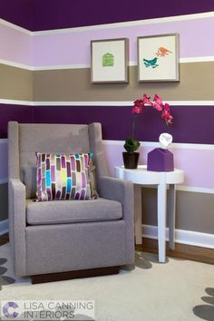 modern kids decor. purple stripes... might have to add some lavendar stripes (and maybe a yellow pinstripe) to Drew's brown walls once she is ready for a big girl bed....