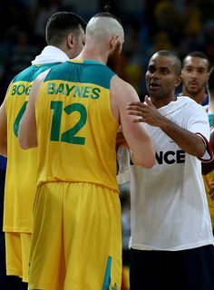 #RIO2016 Best of Day 1 - Aron Baynes of Australia greets Tony Parker of France after the game on Day 1 of the Rio 2016 Olympic Games at Carioca Arena 1 on August 6 2016 in...