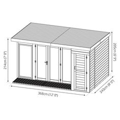 Buy Waltons 12 x 8 Contemporary Summerhouse with Side Shed at Waltons Garden Buildings. UK made sheds, cabins and more. Free, fast delivery to most of UK