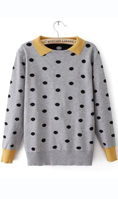 Sweet polk dot mixed colors collared sweater will sure add a bit of retro into your wardrobe