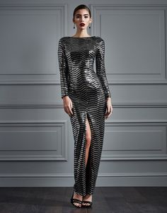 Rare Long Sleeve Sequin Maxi Dress