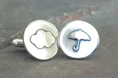Sterling Silver Weather Cuff Links, Meteorological Cufflinks, Gifts for Weathermen, Meteorology Cufflinks, Rain Clouds, Umbrella Cufflinks by SilverSculptor on Etsy