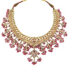 Indian Gold, Foiled-Back Diamond, Ruby Bead and Jaipur Enamel Fringe Necklace with Cord Table-cut diamonds, ap. 120 dwts. gross. Length adjustable.