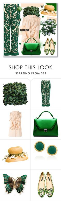 """""""For the Love of Green"""" by nantucketteabook ❤ liked on Polyvore featuring Ganni, Chloé, Mark Cross, Retrò, Monica Vinader, Avalaya, Dolce&Gabbana, iittala, GREEN and greenandblush"""