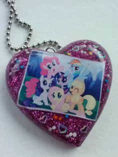 My Little Ponies Fan Heart -Resin Pendant Necklace- Nerd/Geek Jewelry. $10.00, via Etsy.